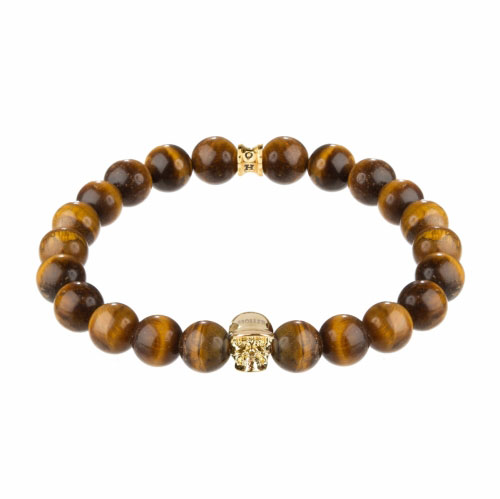 Holler Jefferson Gold Polished Skull / 10mm Orange Tiger Eye Natural Stone Bracelet
