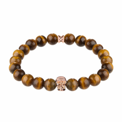 Jefferson Rose Gold Polished Skull / 10mm Orange Tiger Eye Natural Stone Bracelet