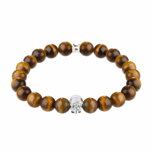 Jefferson Silver Polished Skull / 10mm Orange Tiger Eye Natural Stone Bracelet