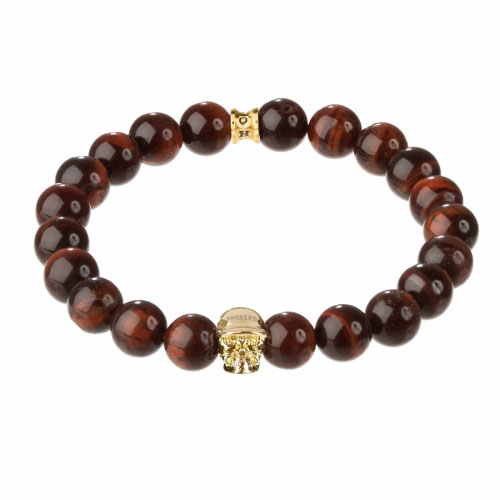 Jefferson Gold Polished Skull / 10mm Red Tiger Eye Natural Stone Bracelet