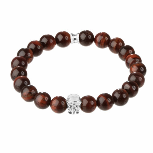 Holler Jefferson Silver Polished Skull / 10mm Red Tiger Eye Natural Stone Bracelet