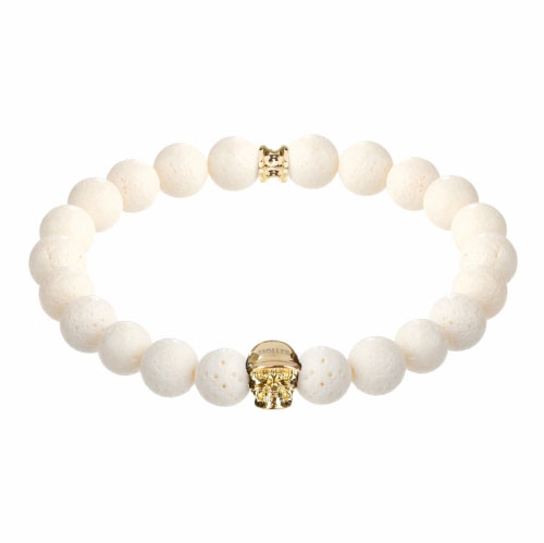 Jefferson Gold Polished Skull / 10mm White Coral Natural Stone Bracelet
