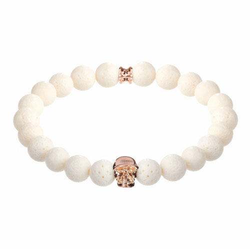 Jefferson Rose Gold Polished Skull / 10mm White Coral Natural Stone Bracelet