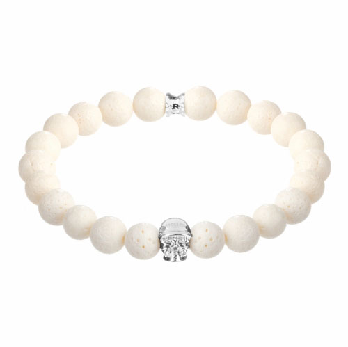 Holler Jefferson Silver Polished Skull / 10mm White Coral Natural Stone Bracelet