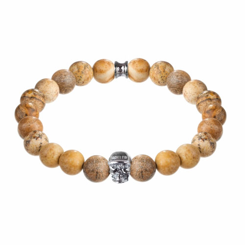 Holler Jefferson 10mm Beige Jasper Stone Bracelet