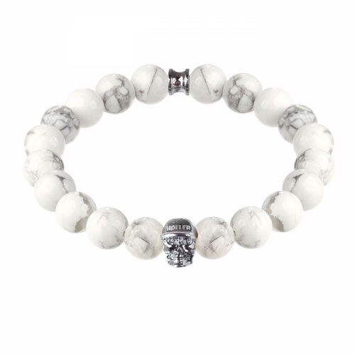 Holler Jefferson 10mm Howlite Stone Bracelet