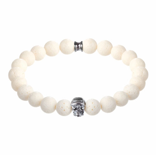 Jefferson 10mm White Coral Stone Bracelet