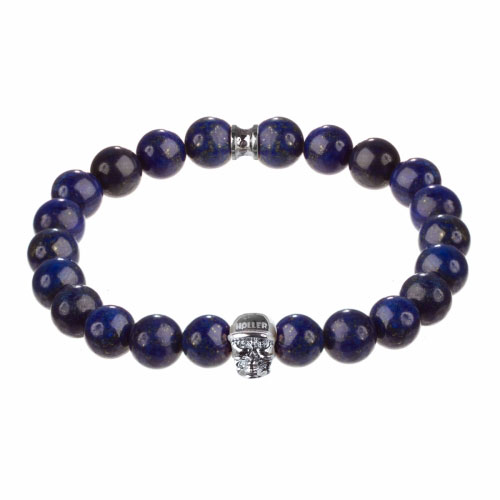 Jefferson 10mm Blue Gold Dumortierite Stone Bracelet