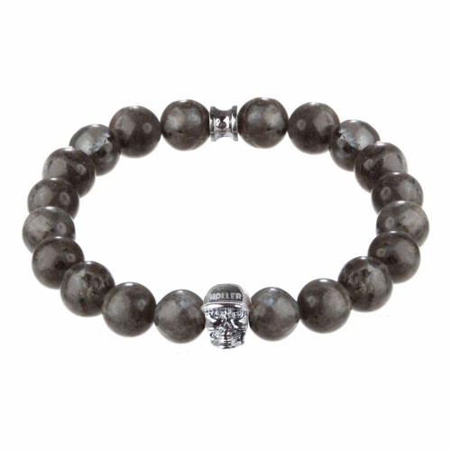 Jefferson 10mm Grey Natural Black Larvikite Stone Bracelet