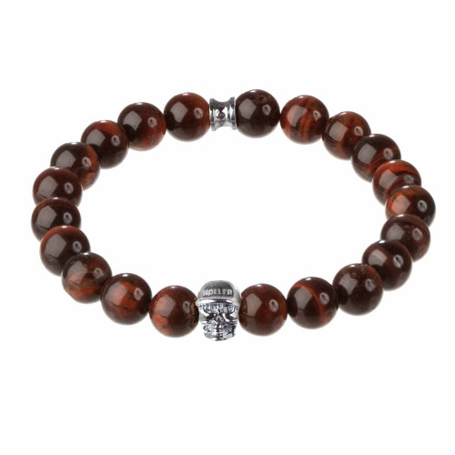 Jefferson 10mm Red Tiger Eye Stone Bracelet