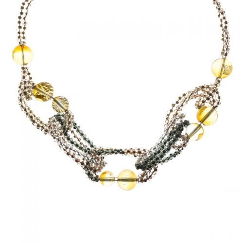 Antica Murrina India Divinity Amber and Grey Necklace