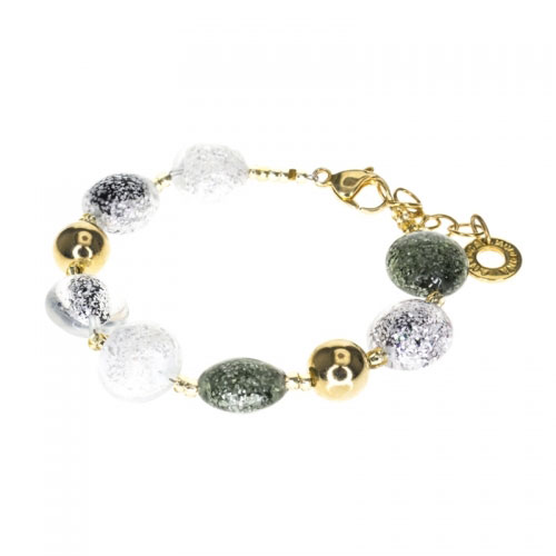 Antica Murrina Grey, Silver and White Starbright Bracelet