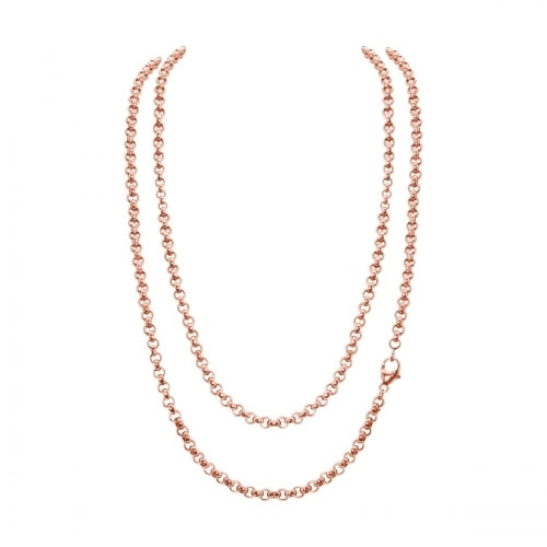Timebeads 'Small Link Belcher' 45cm Rose Gold Plated Chain Necklace