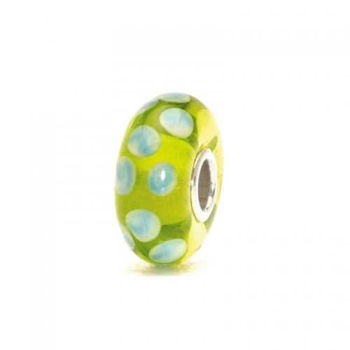 Trollbeads Turquoise Green Dot Silver & Glass Bead 61169