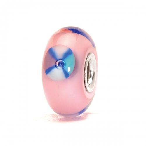 Trollbeads Pink Silver & Glass Bead TGLBE-10025