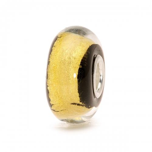 Trollbeads Black Gold Silver & Glass Bead 62015