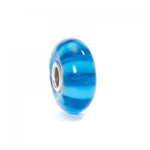 Trollbeads Turquoise Stripe Silver & Glass Bead 61358