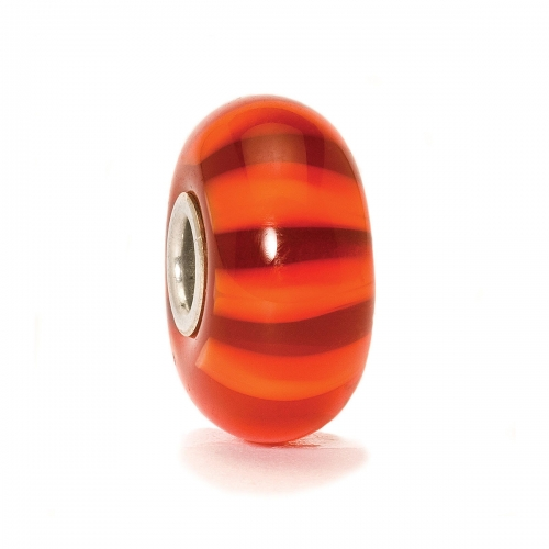 Trollbeads Red Stripe Silver & Glass Bead 61363 (RETIRED)