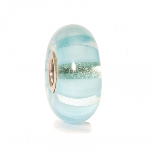 Trollbeads Light Blue Stripe Silver & Glass Bead 61365