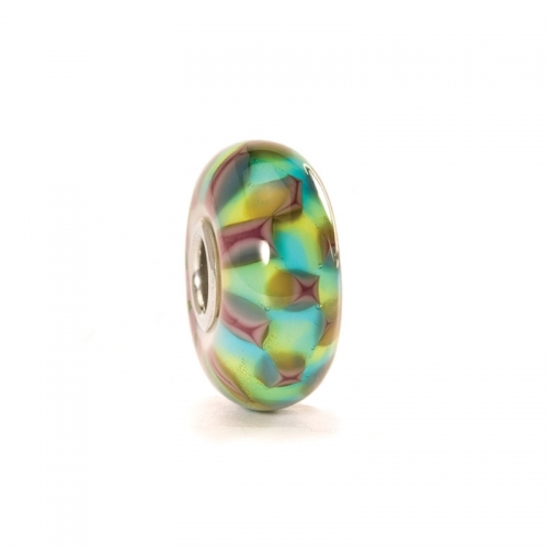 Trollbeads Turquoise/Purple Chess Silver & Glass Bead 61368