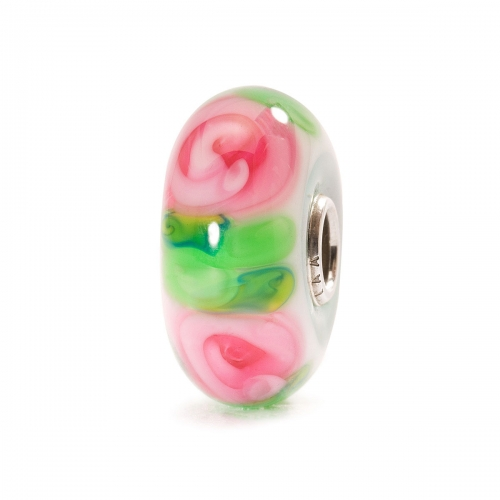 Trollbeads Rose Silver & Glass Bead TGLBE-10260
