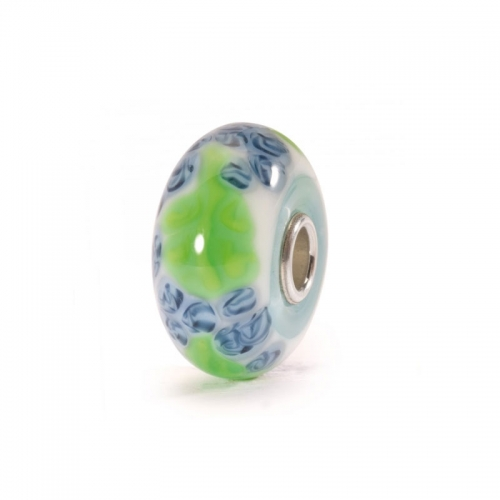 Trollbeads Blue Flax Silver & Glass Bead 61376 (RETIRED)