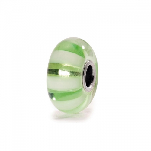 Trollbeads Light Green Stripe Silver & Glass Bead 61377