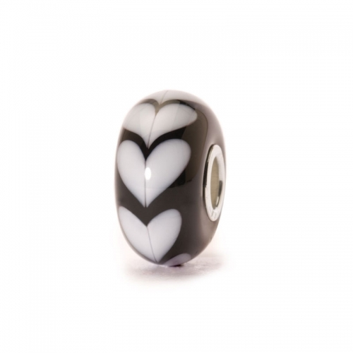 Trollbeads White Heart Silver & Glass Bead 61382