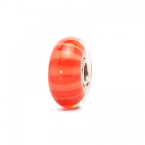 Trollbeads Peach Stripe Silver & Glass Bead 61452