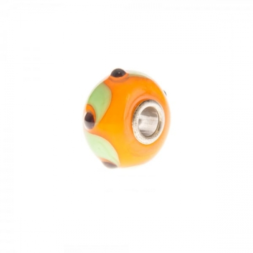 Trollbeads Orange and Green Unique Silver & Glass Bead