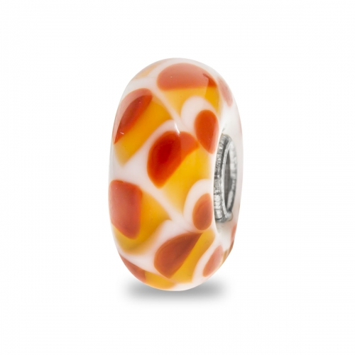 Trollbeads White and Orange Unique Silver & Glass Bead