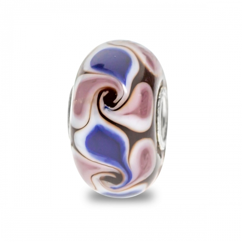 Trollbeads Brown, Pink and Blue Unique Silver & Glass Bead