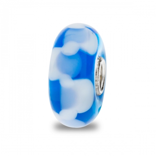 Trollbeads Blue and White Unique Silver & Glass Bead