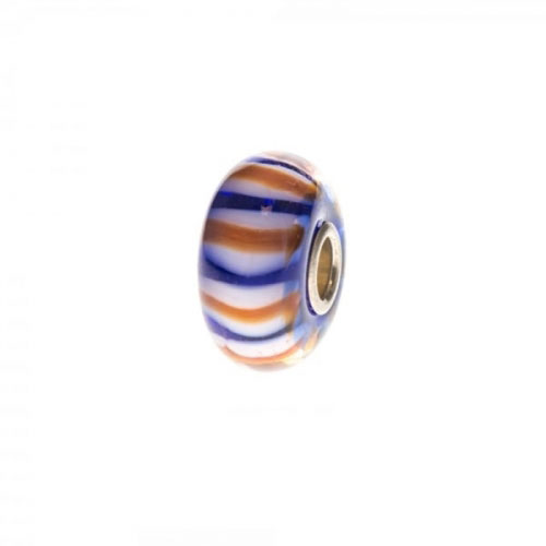 Trollbeads Blue, White and Orange Unique Silver & Glass Bead