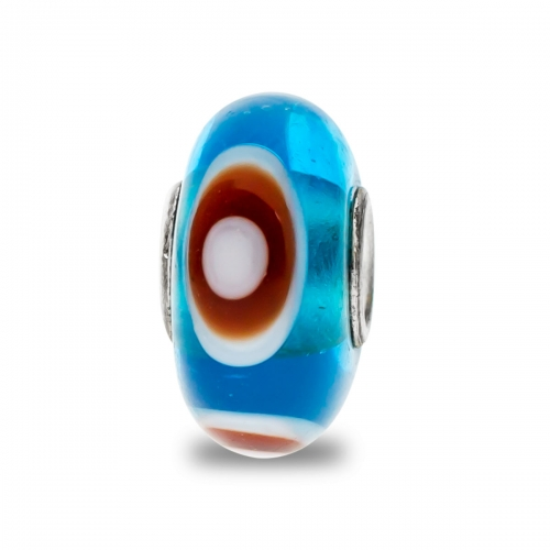 Trollbeads Blue, White and Brown Unique Silver & Glass Bead