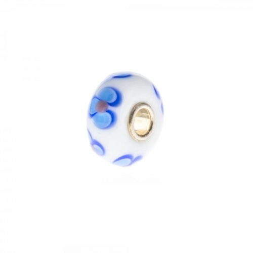 Trollbeads White and Blue Unique Silver & Glass Bead