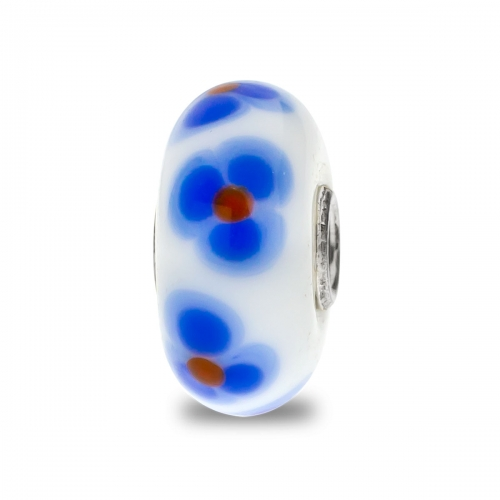 Trollbeads White, Blue and Red Unique Silver & Glass Bead