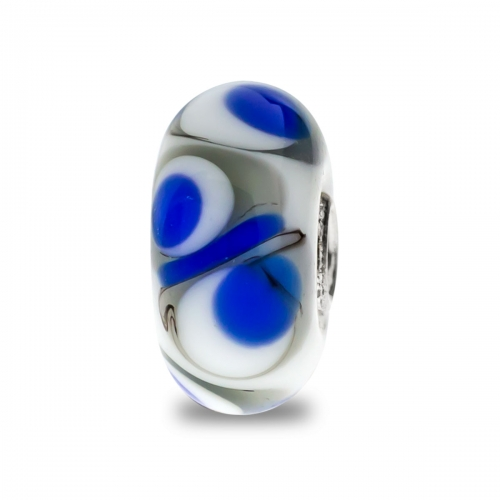 Trollbeads White, Blue and Grey Unique Silver & Glass Bead