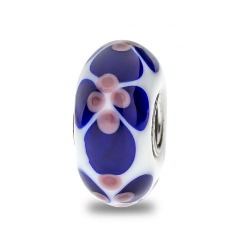 Trollbeads White, Blue and Purple Unique Silver & Glass Bead