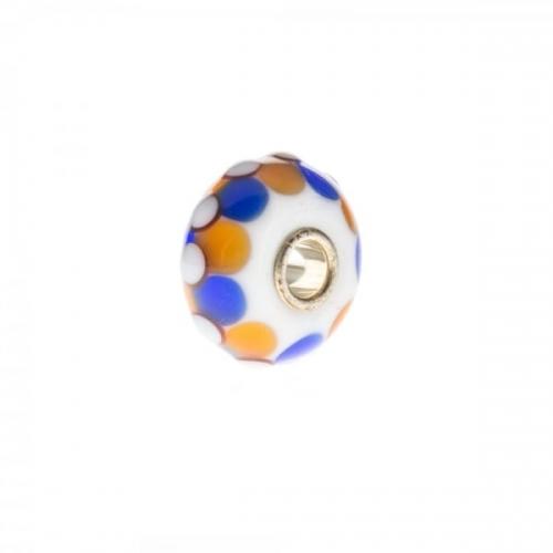 Trollbeads White, Blue and Orange Unique Silver & Glass Bead