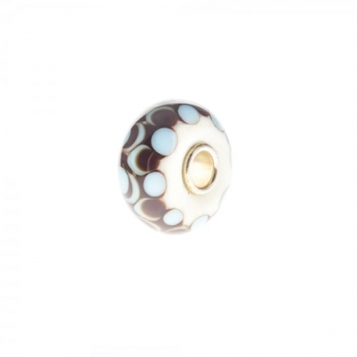 Trollbeads White, Blue and Brown Unique Silver & Glass Bead