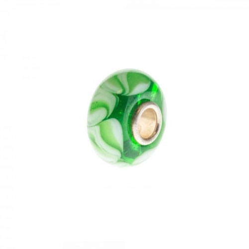 Trollbeads Green and White Unique Silver & Glass Bead