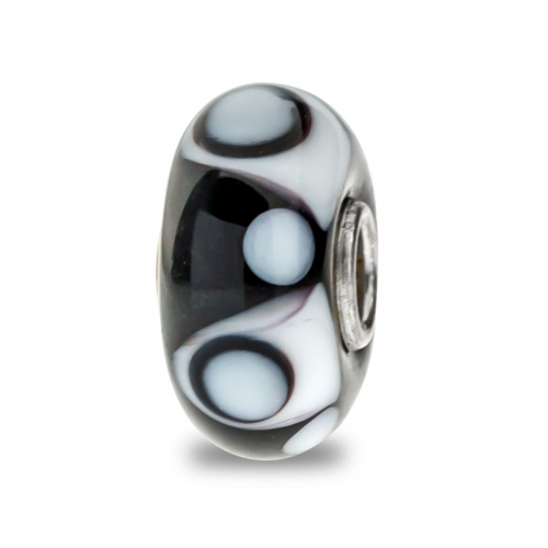 Trollbeads Black and White Unique Silver & Glass Bead