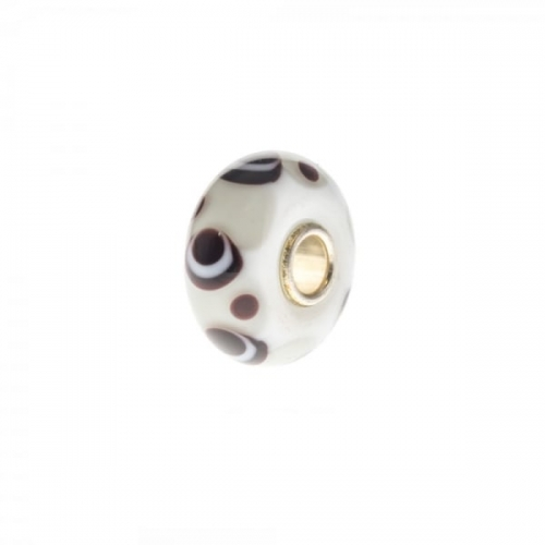 Trollbeads White and Brown Unique Silver & Glass Bead