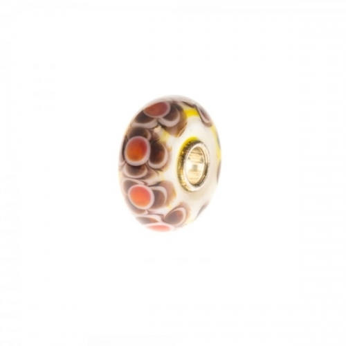 Trollbeads White, Brown and Orange Unique Silver & Glass Bead