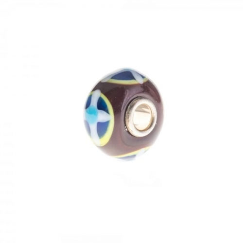 Trollbeads Brown and Blue Unique Silver & Glass Bead