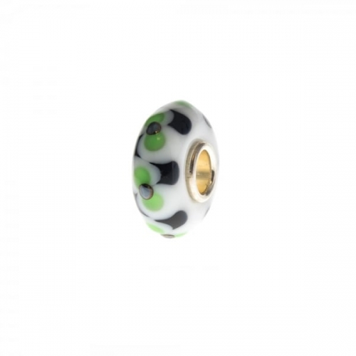 Trollbeads White and Green Unique Silver & Glass Bead