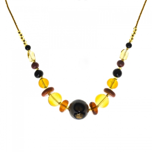 Antica Murrina Bloom Amber and Grey Necklace