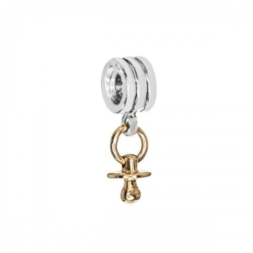 Pandora Dummy Silver & 14ct Gold Pendant Charm 790234