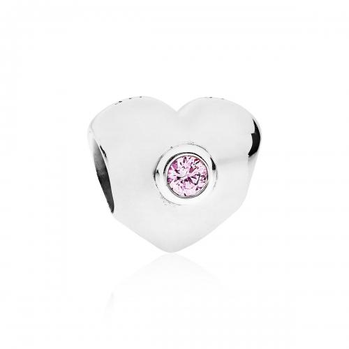 Pandora Pink Sparkling Heart Silver & Pink CZ Charm 790134PCZ